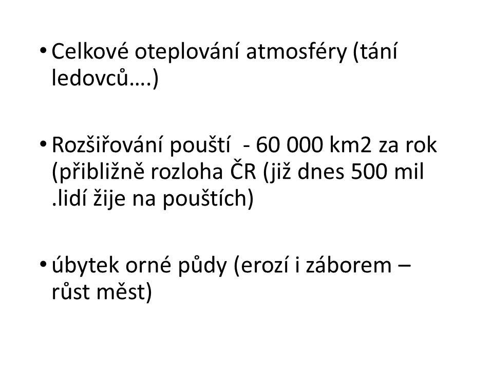 • Celkové oteplování atmosféry (tání ledovců….) • Rozšiřování pouští - 60 000 km2 za rok (přibližně rozloha ČR (již dnes 500 mil.lidí žije na pouštích