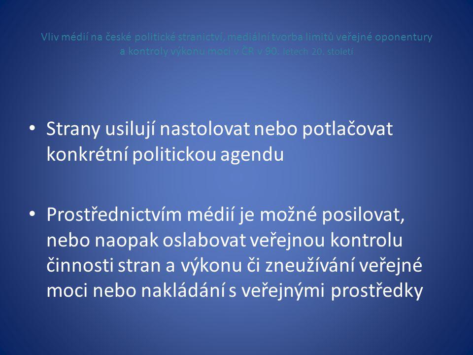 Vliv médií na české politické stranictví, mediální tvorba limitů veřejné oponentury a kontroly výkonu moci v ČR v 90. letech 20. století • Strany usil