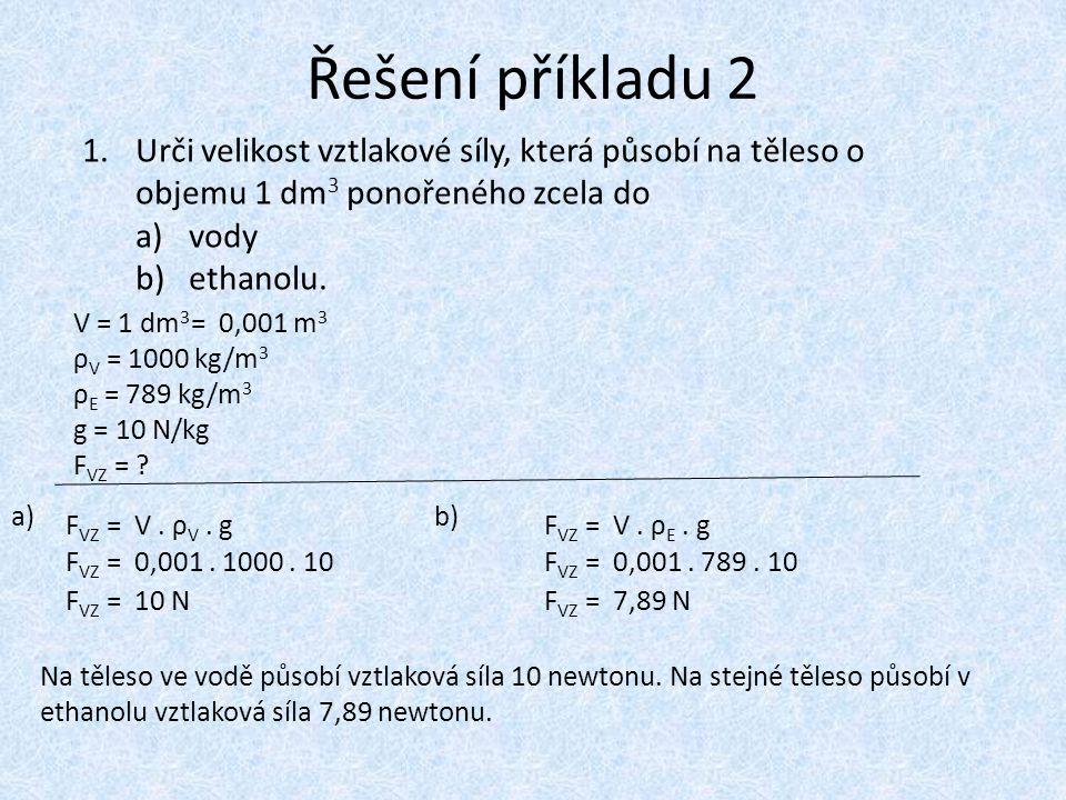 Řešení příkladu 2 V = 1 dm 3 ρ V = 1000 kg/m 3 ρ E = 789 kg/m 3 g = 10 N/kg F VZ = ? F VZ = V. ρ V. g F VZ = 0,001. 1000. 10 = 0,001 m 3 F VZ = 10 N N