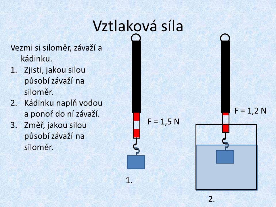 Vztlaková síla Vezmi si siloměr, závaží a kádinku. 1.Zjisti, jakou silou působí závaží na siloměr. 2.Kádinku naplň vodou a ponoř do ní závaží. 3.Změř,