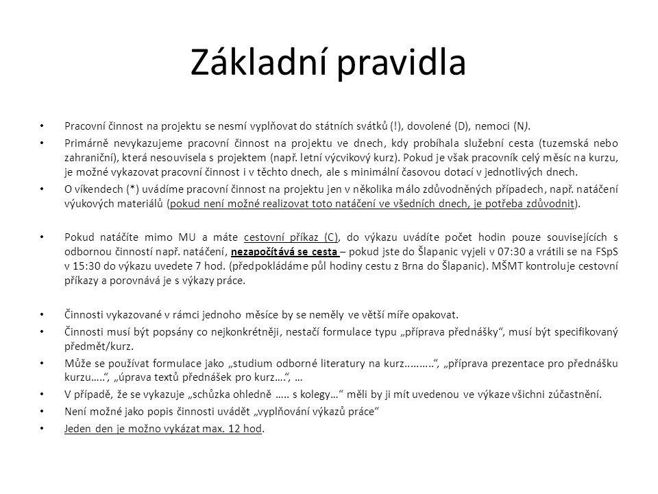 Základní pravidla • Pracovní činnost na projektu se nesmí vyplňovat do státních svátků (!), dovolené (D), nemoci (N). • Primárně nevykazujeme pracovní
