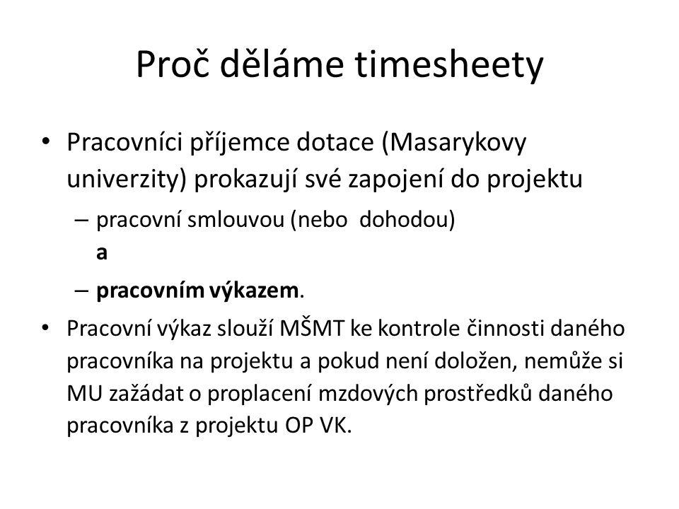 Proč děláme timesheety • Pracovníci příjemce dotace (Masarykovy univerzity) prokazují své zapojení do projektu – pracovní smlouvou (nebo dohodou) a –