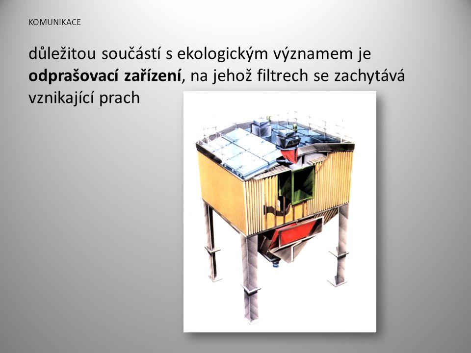 KOMUNIKACE důležitou součástí s ekologickým významem je odprašovací zařízení, na jehož filtrech se zachytává vznikající prach