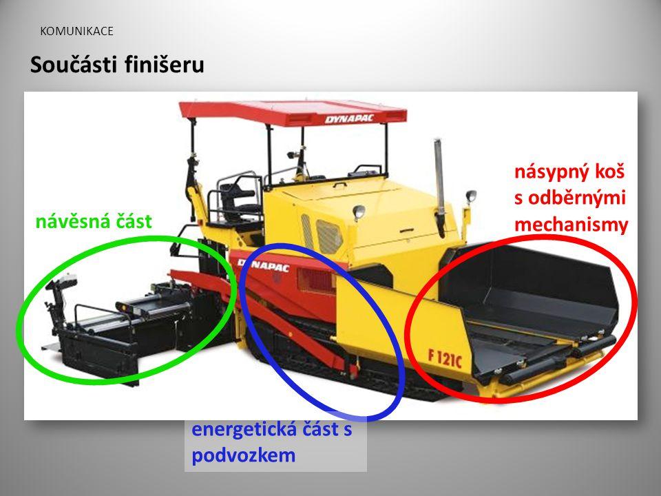 KOMUNIKACE Součásti finišeru násypný koš s odběrnými mechanismy energetická část s podvozkem návěsná část
