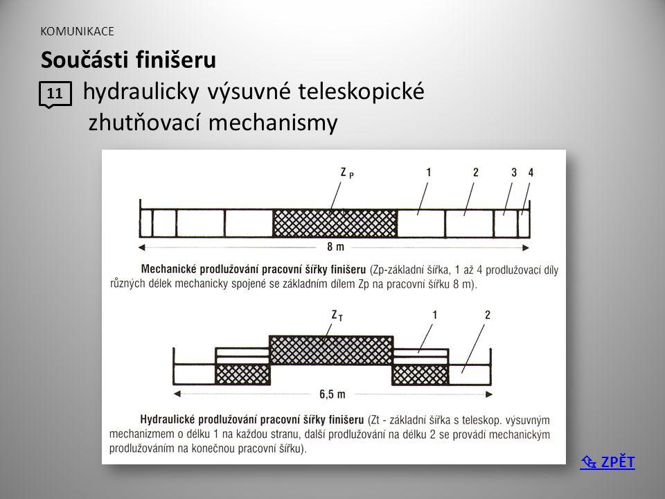 KOMUNIKACE Součásti finišeru 11 hydraulicky výsuvné teleskopické zhutňovací mechanismy  ZPĚT