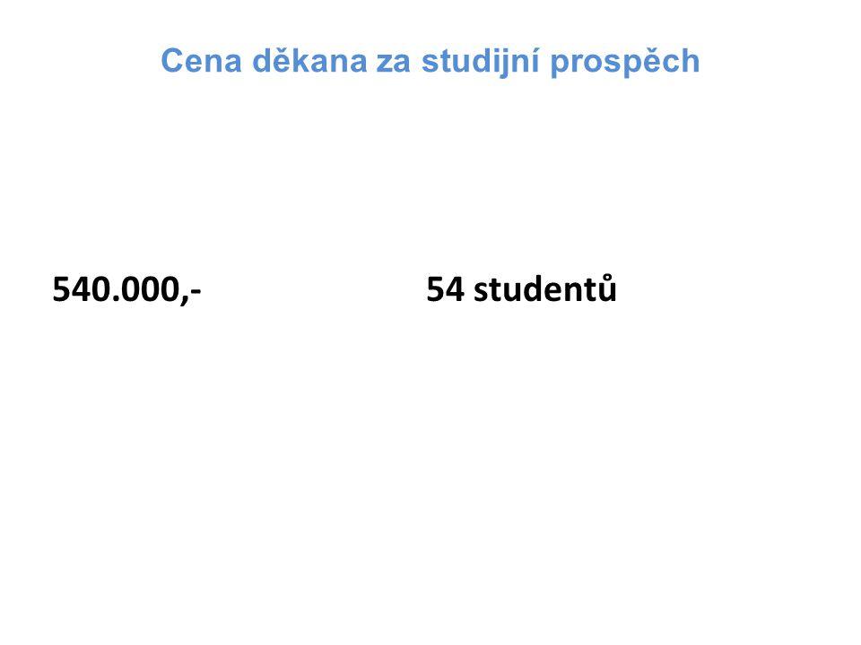 Cena děkana za studijní prospěch 540.000,- 54 studentů