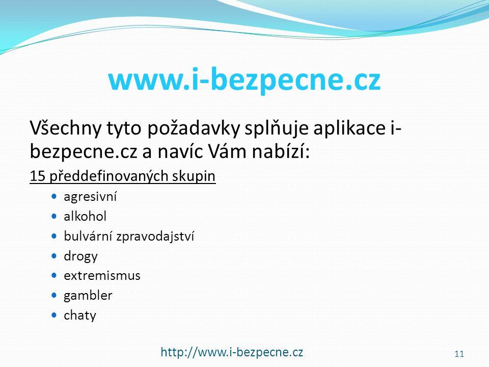 www.i-bezpecne.cz Všechny tyto požadavky splňuje aplikace i- bezpecne.cz a navíc Vám nabízí: 15 předdefinovaných skupin  agresivní  alkohol  bulvár