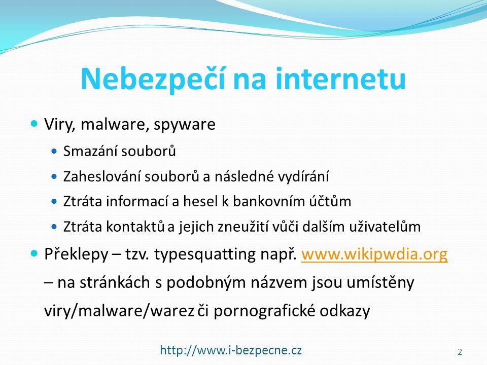 Nebezpečí na internetu  Viry, malware, spyware  Smazání souborů  Zaheslování souborů a následné vydírání  Ztráta informací a hesel k bankovním účt
