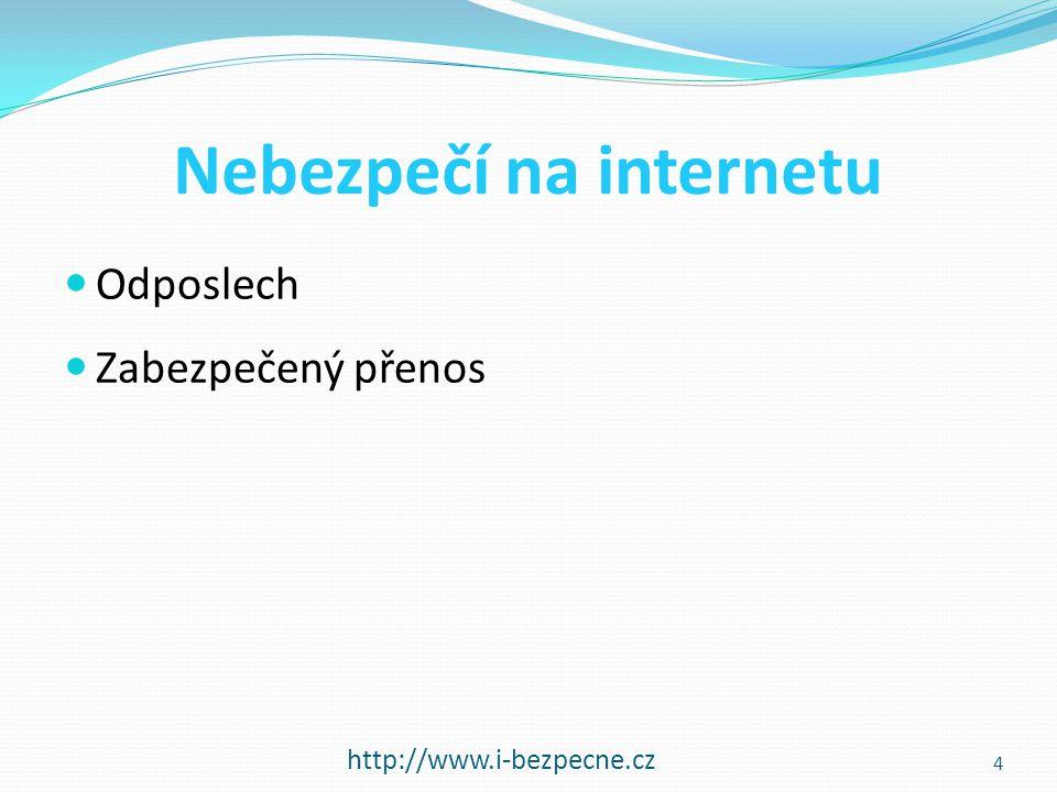 Nebezpečí na internetu  Odposlech  Zabezpečený přenos http://www.i-bezpecne.cz 4