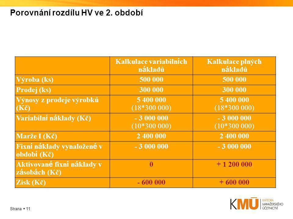Strana  11 Porovnání rozdílu HV ve 2. období Kalkulace variabiln í ch n á kladů Kalkulace plných n á kladů Výroba (ks)500 000 Prodej (ks)300 000 Výno