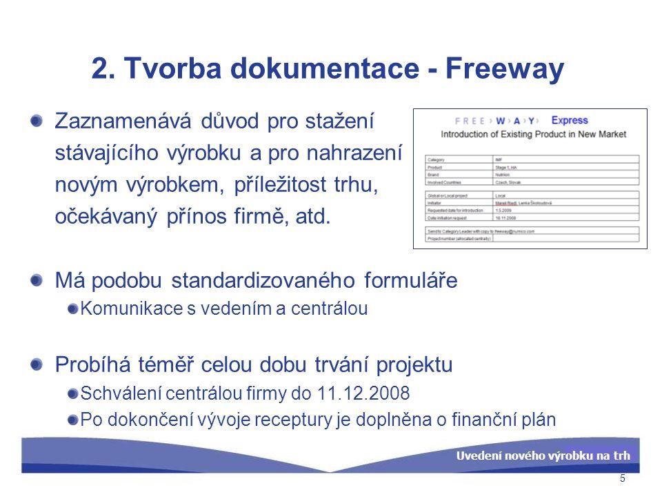 Uvedení nového výrobku na trh 2. Tvorba dokumentace - Freeway Zaznamenává důvod pro stažení stávajícího výrobku a pro nahrazení novým výrobkem, přílež