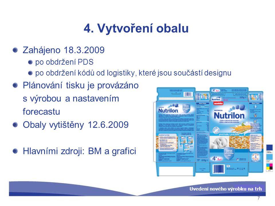 Uvedení nového výrobku na trh 4. Vytvoření obalu Zahájeno 18.3.2009 po obdržení PDS po obdržení kódů od logistiky, které jsou součástí designu Plánová