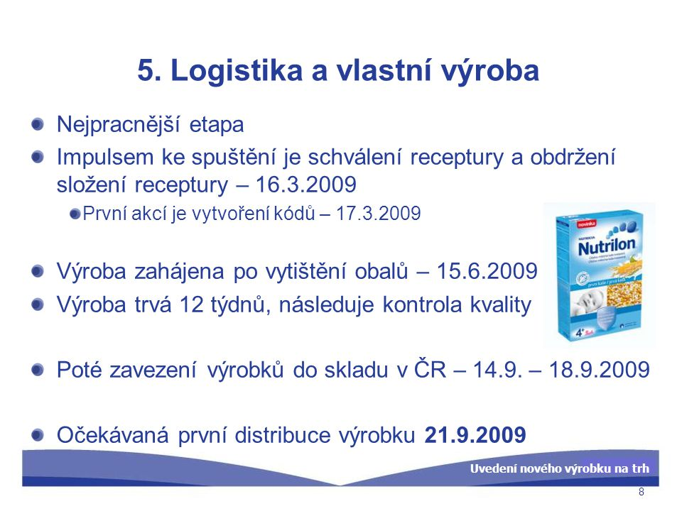 Uvedení nového výrobku na trh 5. Logistika a vlastní výroba Nejpracnější etapa Impulsem ke spuštění je schválení receptury a obdržení složení receptur