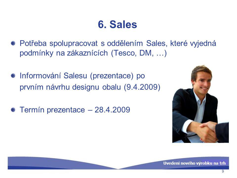 Uvedení nového výrobku na trh 6. Sales Potřeba spolupracovat s oddělením Sales, které vyjedná podmínky na zákaznících (Tesco, DM, …) Informování Sales