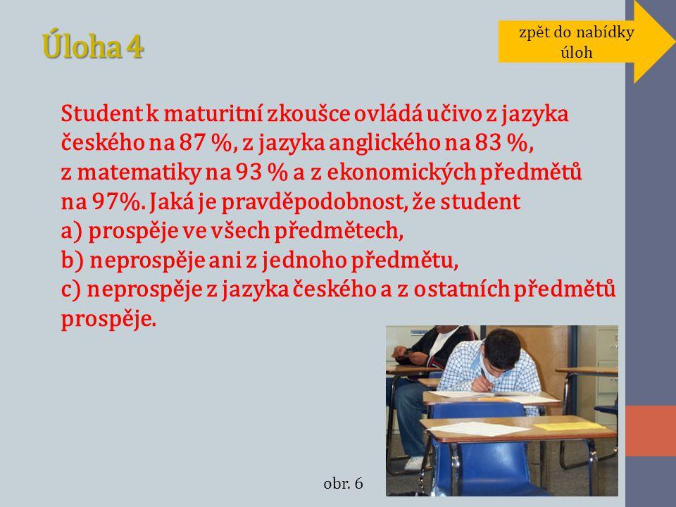 Úloha 4 Student k maturitní zkoušce ovládá učivo z jazyka českého na 87 %, z jazyka anglického na 83 %, z matematiky na 93 % a z ekonomických předmětů na 97%.