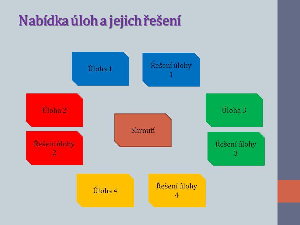 Nabídka úloh a jejich řešení Úloha 1 Řešení úlohy 1 Shrnutí Úloha 2 Řešení úlohy 2 Úloha 4 Řešení úlohy 4 Řešení úlohy 3 Úloha 3