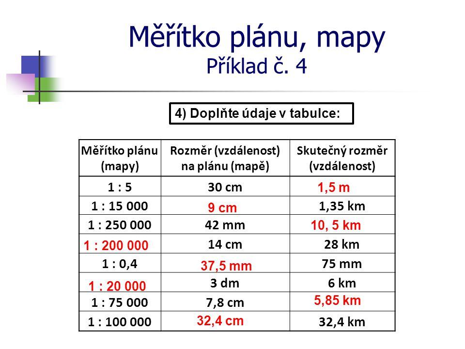 Měřítko plánu, mapy Příklad č. 4 4) Doplňte údaje v tabulce: 10, 5 km Měřítko plánu (mapy) Rozměr (vzdálenost) na plánu (mapě) Skutečný rozměr (vzdále