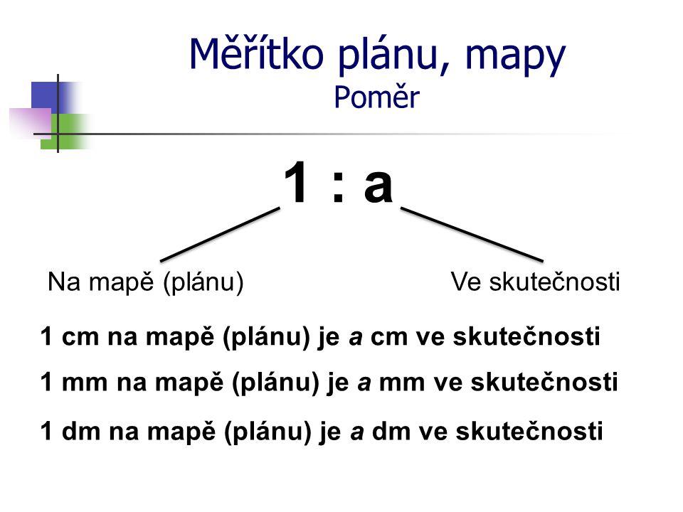Měřítko plánu, mapy Poměr Na mapě (plánu) 1 : a Ve skutečnosti 1 cm na mapě (plánu) je a cm ve skutečnosti 1 mm na mapě (plánu) je a mm ve skutečnosti