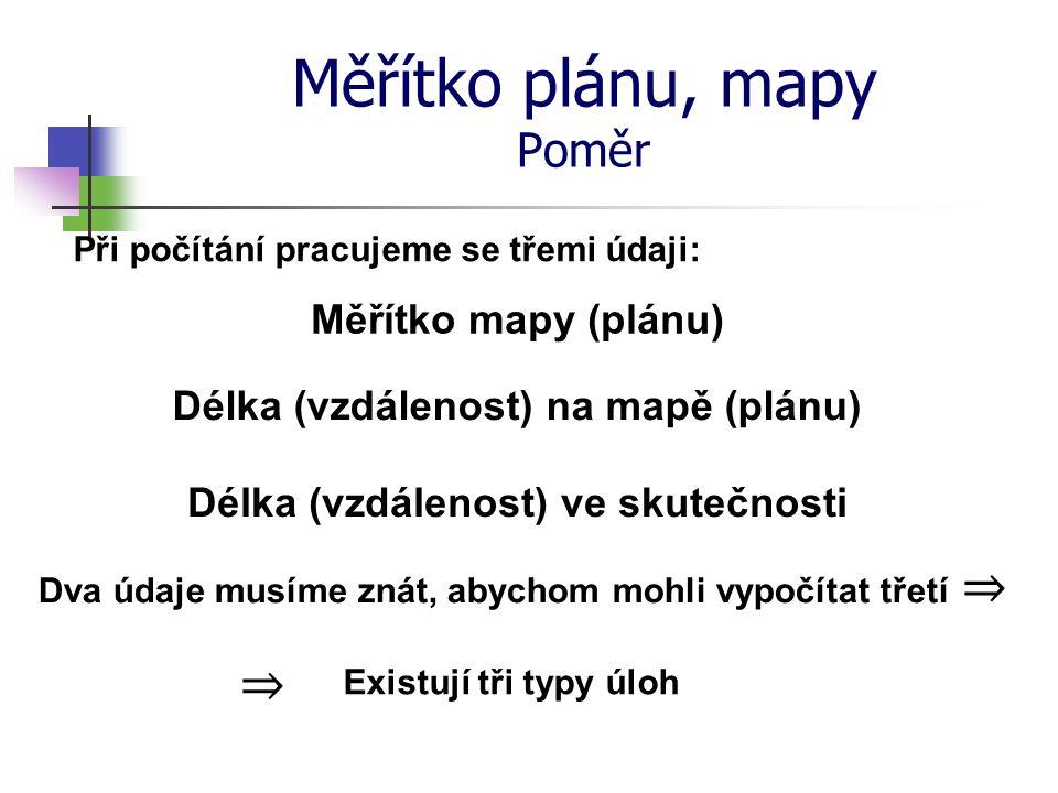 Měřítko plánu, mapy Poměr Při počítání pracujeme se třemi údaji: Měřítko mapy (plánu) Délka (vzdálenost) na mapě (plánu) Délka (vzdálenost) ve skutečn