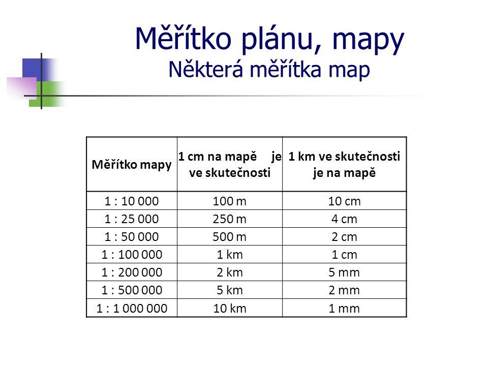 Měřítko plánu, mapy Některá měřítka map Měřítko mapy 1 cm na mapě je ve skutečnosti 1 km ve skutečnosti je na mapě 1 : 10 000100 m10 cm 1 : 25 000250