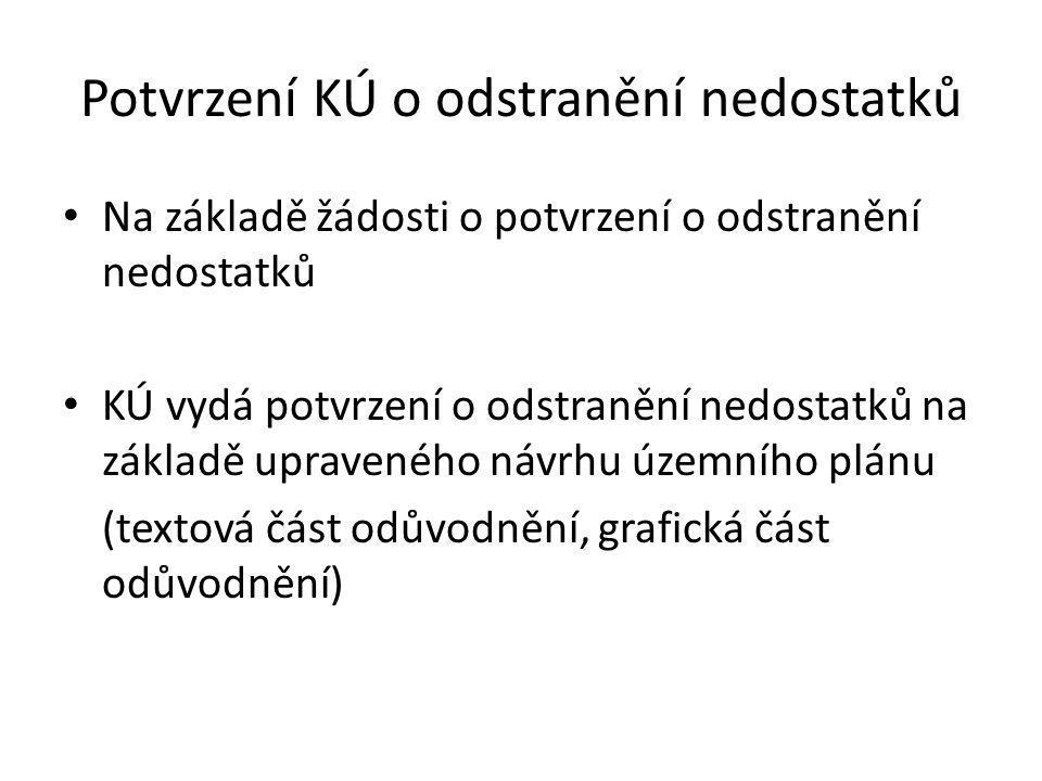 Potvrzení KÚ o odstranění nedostatků • Na základě žádosti o potvrzení o odstranění nedostatků • KÚ vydá potvrzení o odstranění nedostatků na základě upraveného návrhu územního plánu (textová část odůvodnění, grafická část odůvodnění)