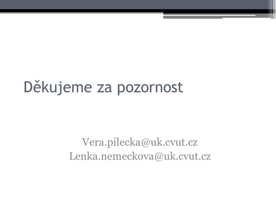 Děkujeme za pozornost Vera.pilecka@uk.cvut.cz Lenka.nemeckova@uk.cvut.cz