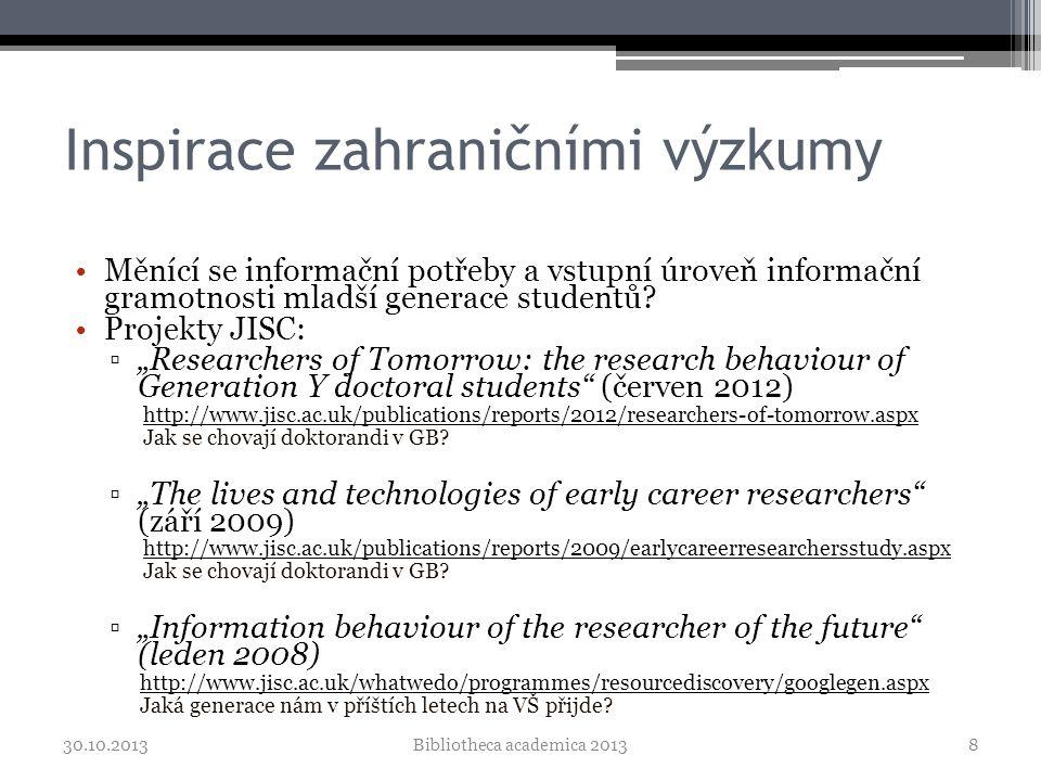 Poznatky ze zahraničí •Největším problémem při práci jsou časové a finanční možnosti, až pak přístup k EIZ •Informace využívají z těchto zdrojů - v pořadí (technika): e- časopisy, tištěné časopisy, abstrakty, knihy, e-knihy •Informace hledají především přes (v pořadí): Google/Google Scholar, citační dtb., dtb.