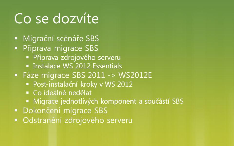 Co se dozvíte  Migrační scénáře SBS  Příprava migrace SBS  Příprava zdrojového serveru  Instalace WS 2012 Essentials  Fáze migrace SBS 2011 -> WS