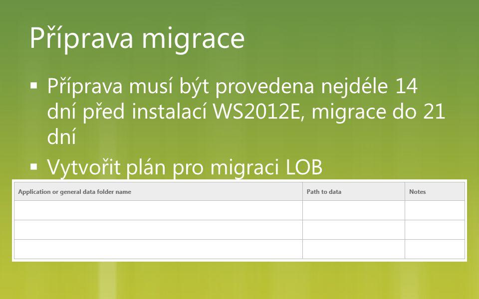 Příprava migrace  Příprava musí být provedena nejdéle 14 dní před instalací WS2012E, migrace do 21 dní  Vytvořit plán pro migraci LOB