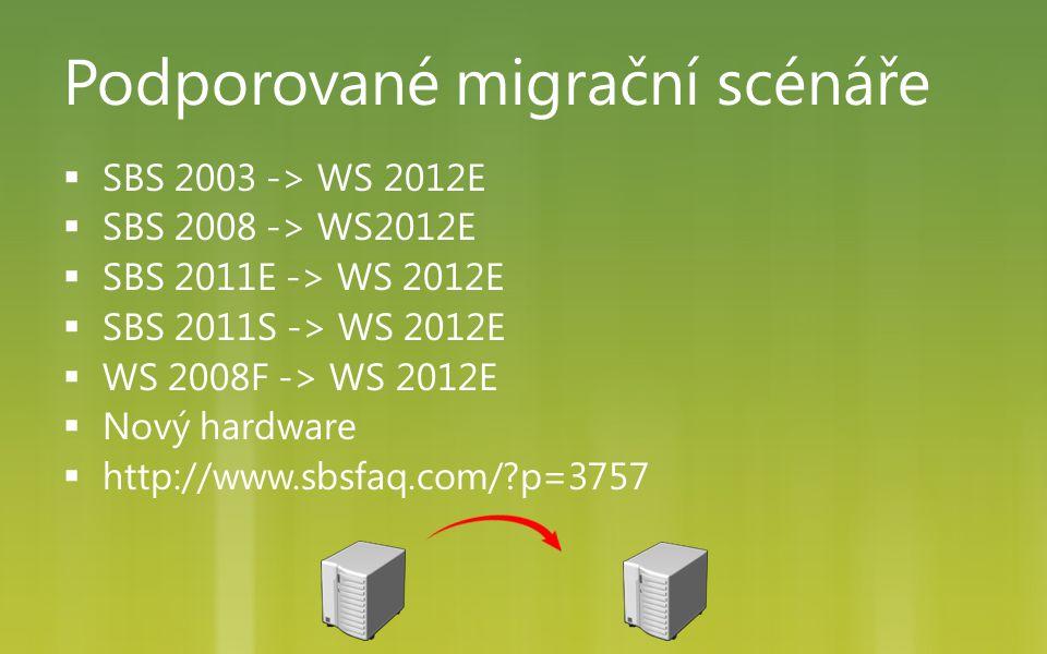 Podporované migrační scénáře  SBS 2003 -> WS 2012E  SBS 2008 -> WS2012E  SBS 2011E -> WS 2012E  SBS 2011S -> WS 2012E  WS 2008F -> WS 2012E  Nov