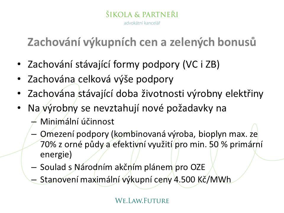 Volba režimů podpory Výkupní cenaRoční zelený bonusHodinový zelený bonus do 100 kW •• nad 100 kW • MVE do 10 MW • • Spoluspalování OZE a (ne)OZE, biokomunální odpad • Vysokoúčinná kogenerace •