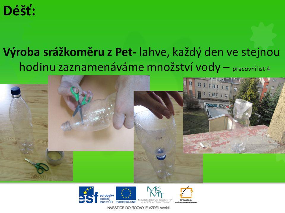Déšť: Výroba srážkoměru z Pet- lahve, každý den ve stejnou hodinu zaznamenáváme množství vody – pracovní list 4 •