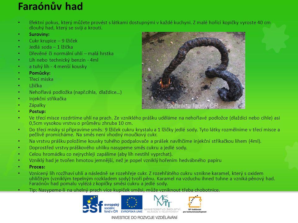 Faraónův had • Efektní pokus, který můžete provést s látkami dostupnými v každé kuchyni. Z malé hořící kopičky vyroste 40 cm dlouhý had, který se svíj