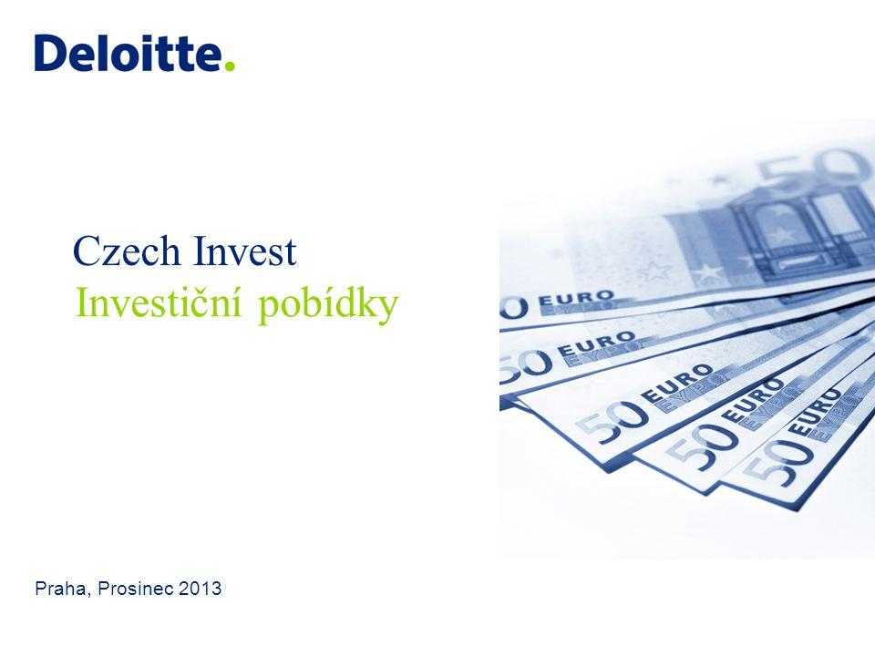 Czech Invest Praha, Prosinec 2013 Investiční pobídky