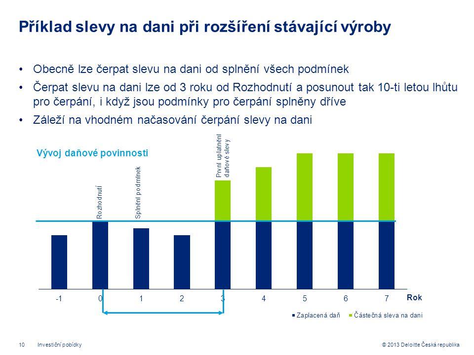 10© 2013 Deloitte Česká republika Příklad slevy na dani při rozšíření stávající výroby •Obecně lze čerpat slevu na dani od splnění všech podmínek •Čerpat slevu na dani lze od 3 roku od Rozhodnutí a posunout tak 10-ti letou lhůtu pro čerpání, i když jsou podmínky pro čerpání splněny dříve •Záleží na vhodném načasování čerpání slevy na dani Investiční pobídky Rozhodnut í