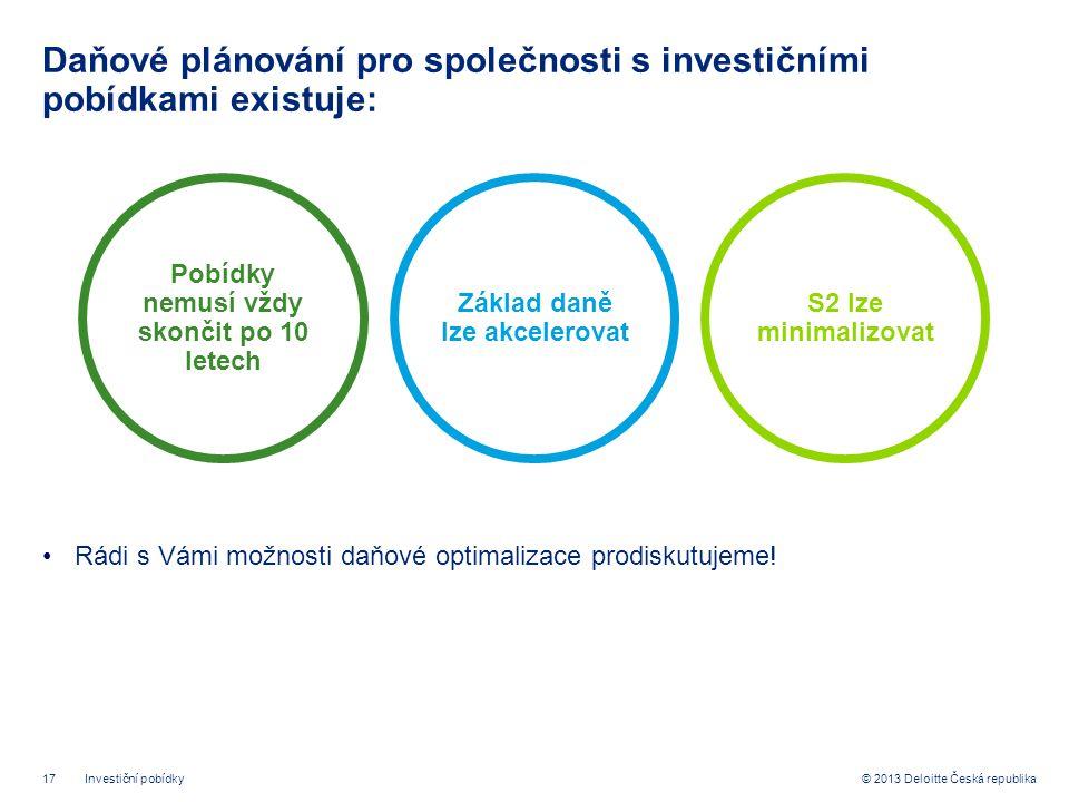 17© 2013 Deloitte Česká republika Daňové plánování pro společnosti s investičními pobídkami existuje: •Rádi s Vámi možnosti daňové optimalizace prodiskutujeme.
