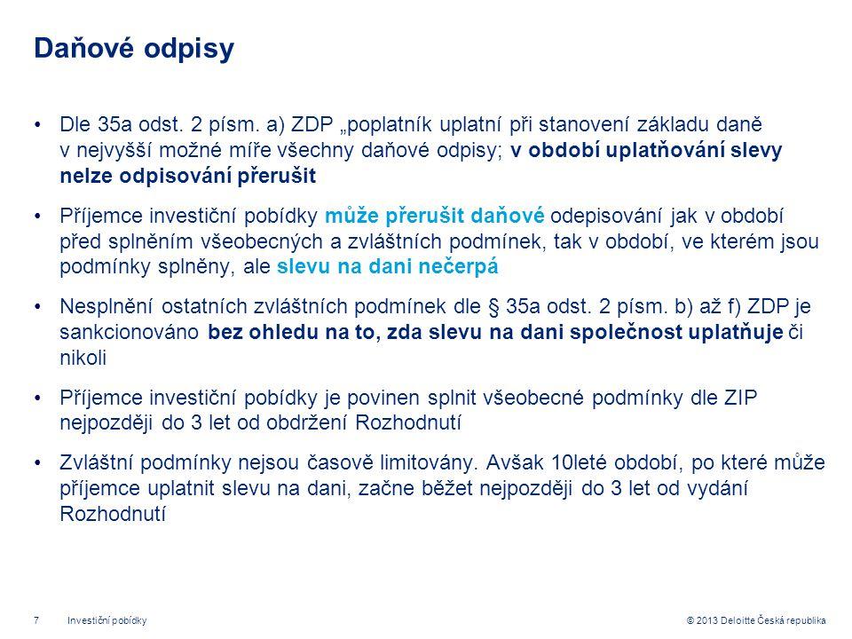 7© 2013 Deloitte Česká republika Daňové odpisy •Dle 35a odst.