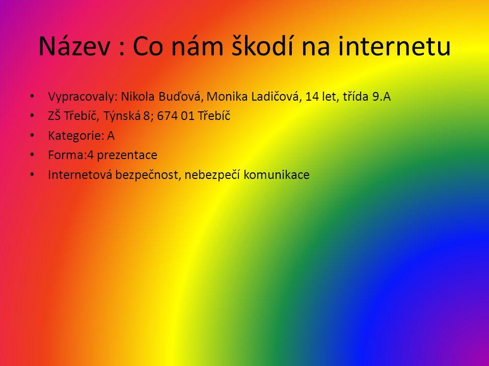 Název : Co nám škodí na internetu • Vypracovaly: Nikola Buďová, Monika Ladičová, 14 let, třída 9.A • ZŠ Třebíč, Týnská 8; 674 01 Třebíč • Kategorie: A • Forma:4 prezentace • Internetová bezpečnost, nebezpečí komunikace