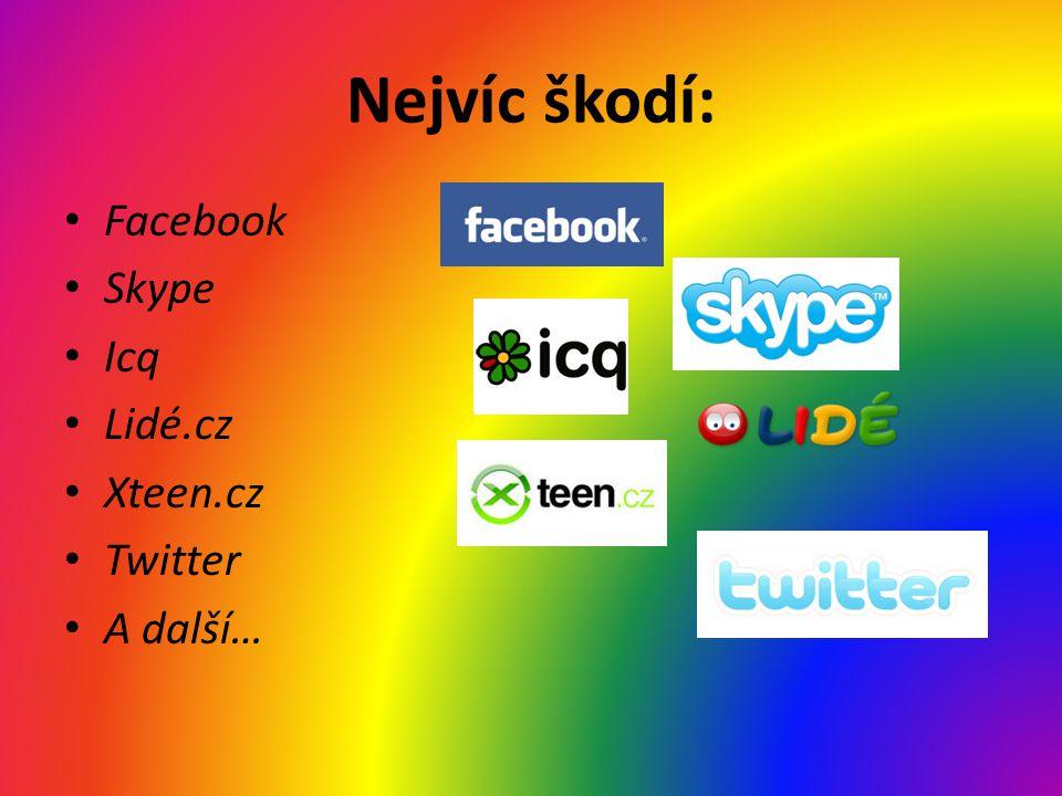 Nejvíc škodí: • Facebook • Skype • Icq • Lidé.cz • Xteen.cz • Twitter • A další…
