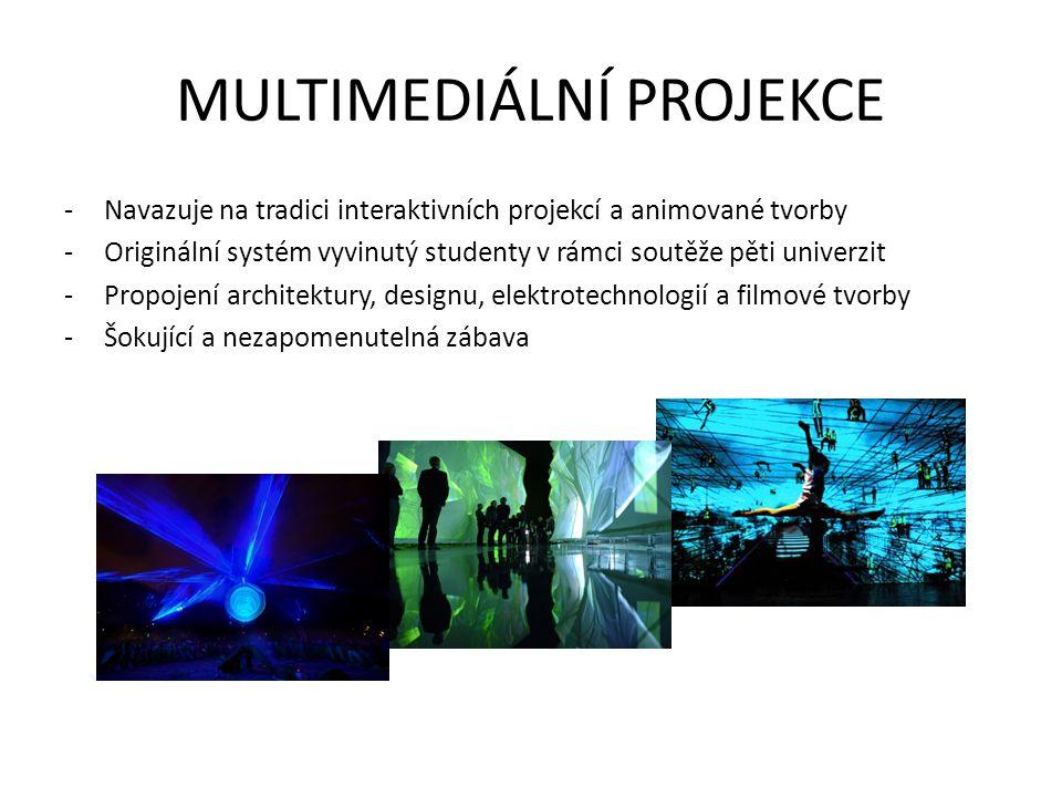 MULTIMEDIÁLNÍ PROJEKCE -Navazuje na tradici interaktivních projekcí a animované tvorby -Originální systém vyvinutý studenty v rámci soutěže pěti unive