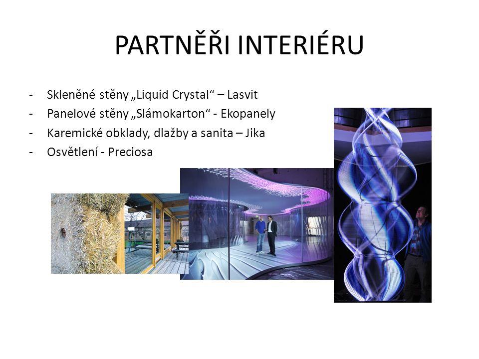 """PARTNĚŘI INTERIÉRU -Skleněné stěny """"Liquid Crystal"""" – Lasvit -Panelové stěny """"Slámokarton"""" - Ekopanely -Karemické obklady, dlažby a sanita – Jika -Osv"""