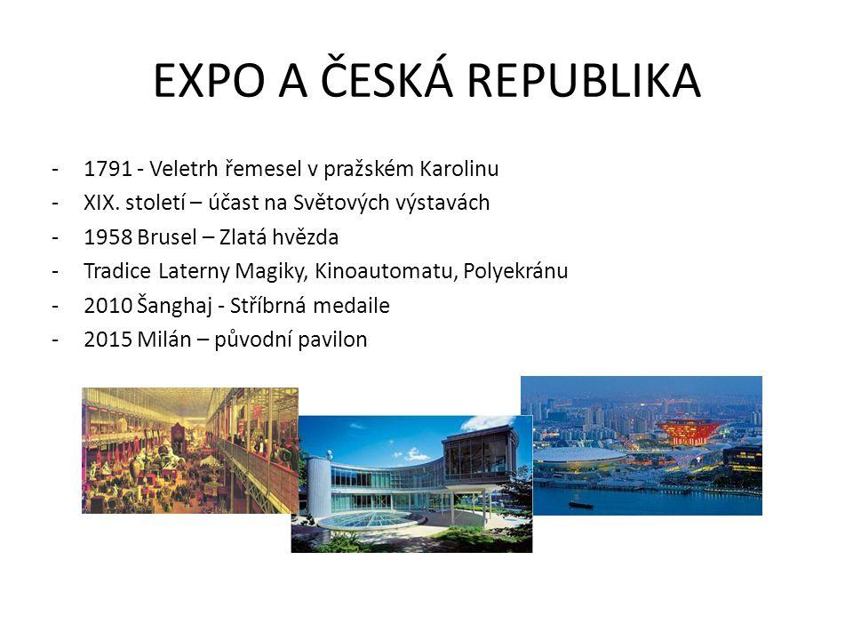 EXPO A ČESKÁ REPUBLIKA -1791 - Veletrh řemesel v pražském Karolinu -XIX. století – účast na Světových výstavách -1958 Brusel – Zlatá hvězda -Tradice L