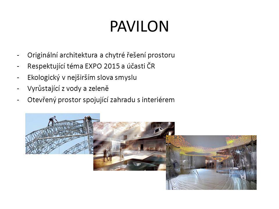 PAVILON -Originální architektura a chytré řešení prostoru -Respektující téma EXPO 2015 a účasti ČR -Ekologický v nejširším slova smyslu -Vyrůstající z