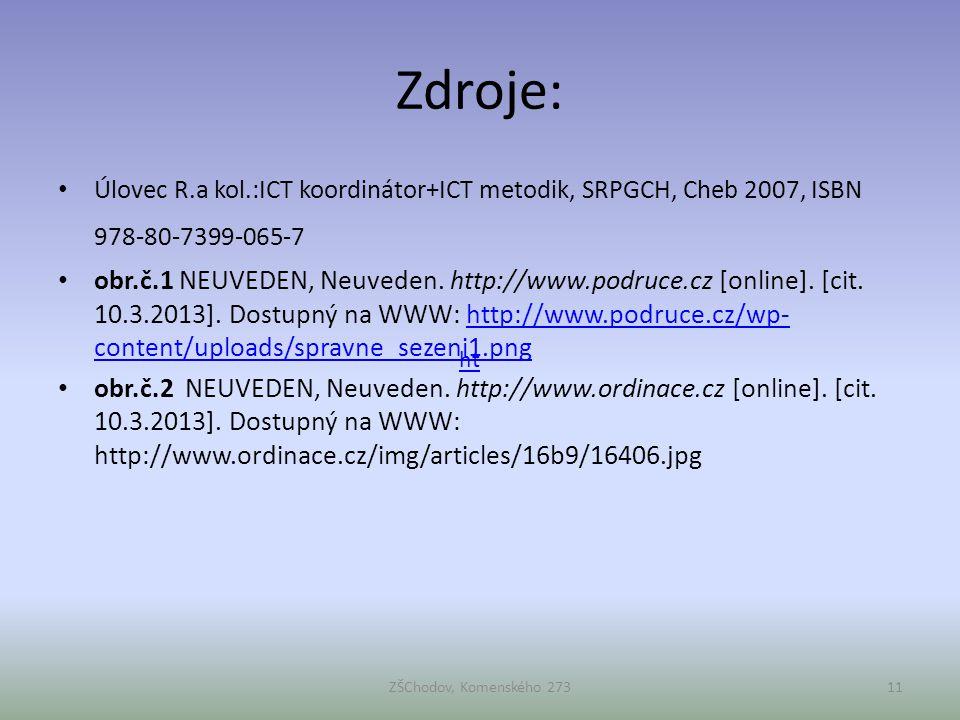 Zdroje: • Úlovec R.a kol.:ICT koordinátor+ICT metodik, SRPGCH, Cheb 2007, ISBN 978-80-7399-065-7 • obr.č.1 NEUVEDEN, Neuveden. http://www.podruce.cz [