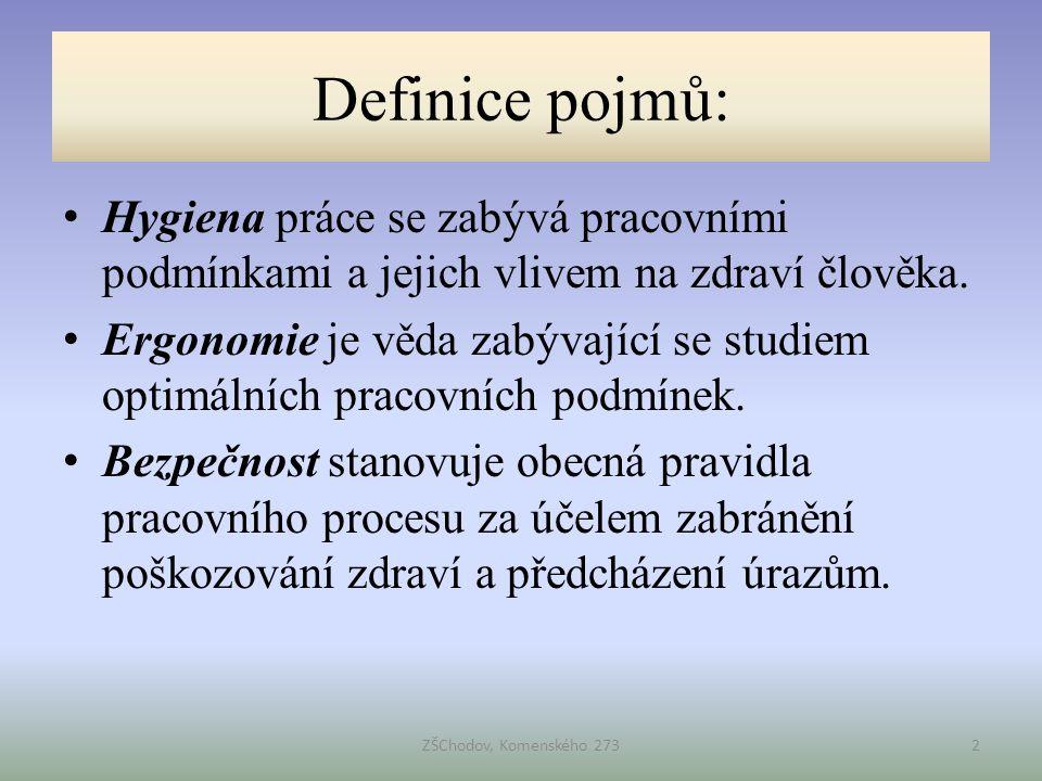 Definice pojmů: • Hygiena práce se zabývá pracovními podmínkami a jejich vlivem na zdraví člověka. • Ergonomie je věda zabývající se studiem optimální