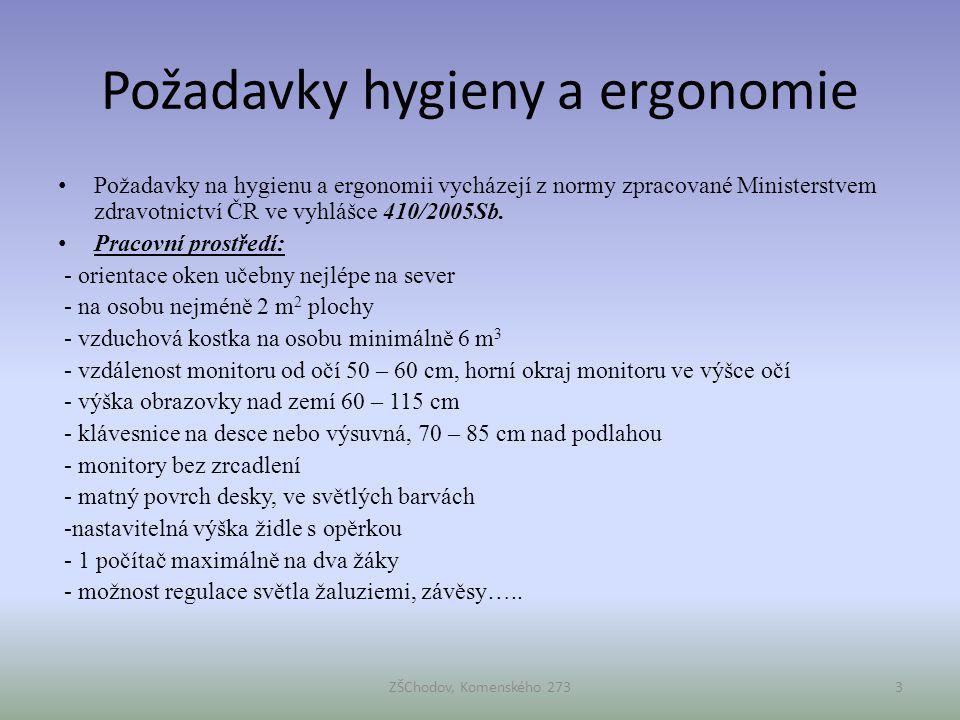 Požadavky hygieny a ergonomie • Požadavky na hygienu a ergonomii vycházejí z normy zpracované Ministerstvem zdravotnictví ČR ve vyhlášce 410/2005Sb. •