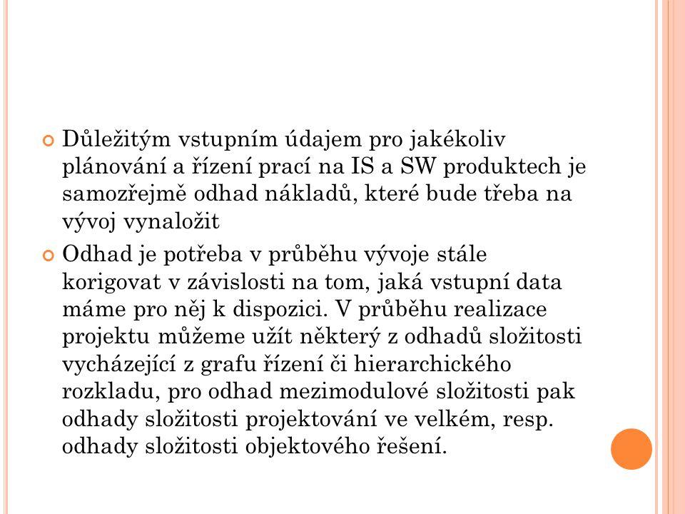 Důležitým vstupním údajem pro jakékoliv plánování a řízení prací na IS a SW produktech je samozřejmě odhad nákladů, které bude třeba na vývoj vynaloži