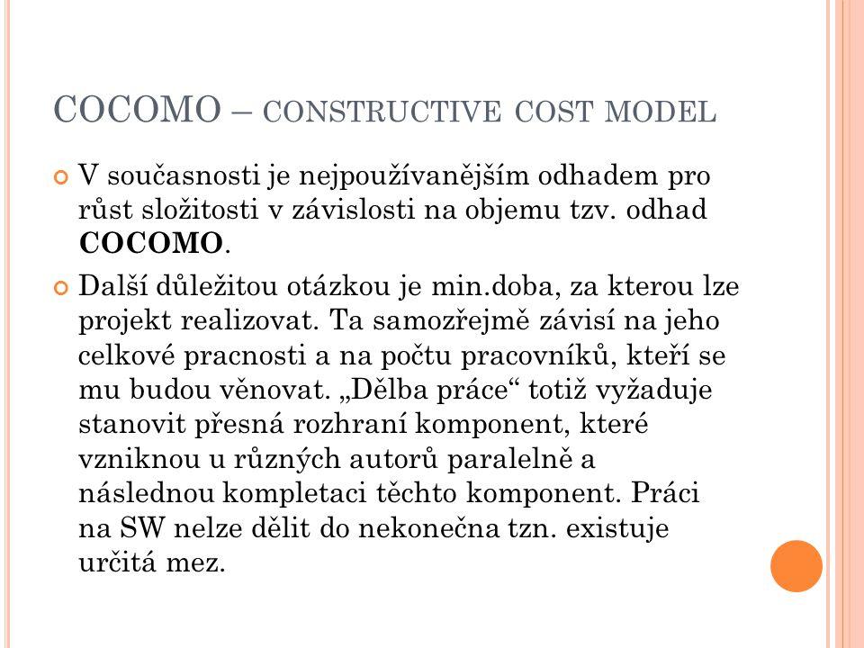 COCOMO – CONSTRUCTIVE COST MODEL V současnosti je nejpoužívanějším odhadem pro růst složitosti v závislosti na objemu tzv. odhad COCOMO. Další důležit