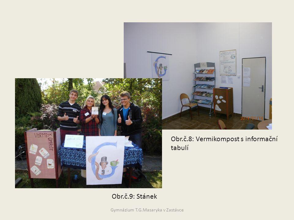 Obr.č.9: Stánek Obr.č.8: Vermikompost s informační tabulí Gymnázium T.G.Masaryka v Zastávce