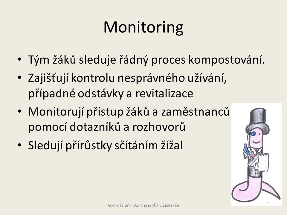Monitoring • Tým žáků sleduje řádný proces kompostování.